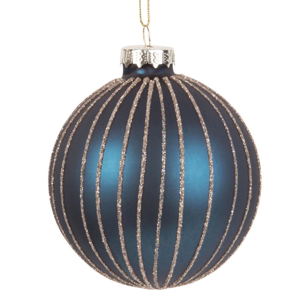 Dove acquistare Pallina di Natale in vetro blu con motivo a righe dorate