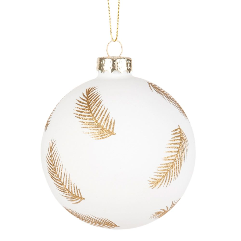 Pallina di Natale in vetro colorato bianco con motivo a piume dorate Decorazioni di Natale