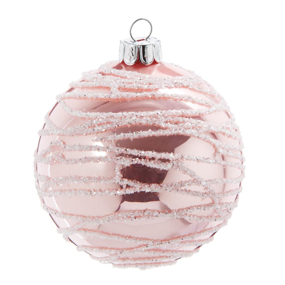 Pallina di Natale in vetro colorato rosa con motivo argento Decorazioni di Natale