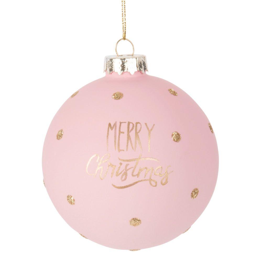 Pallina di Natale in vetro colorato rosa e dorato Decorazioni di Natale