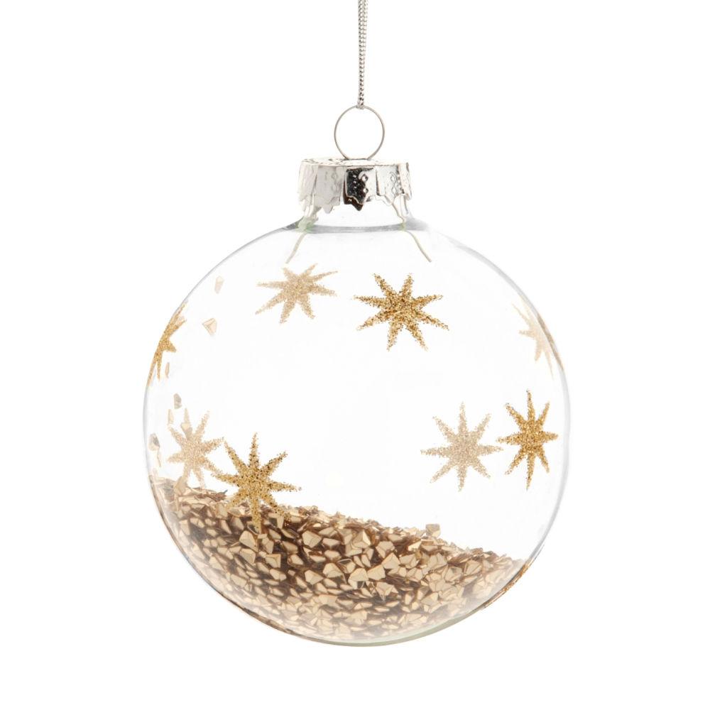 Dove acquistare Pallina di Natale in vetro con motivo a stelle e paillette dorati