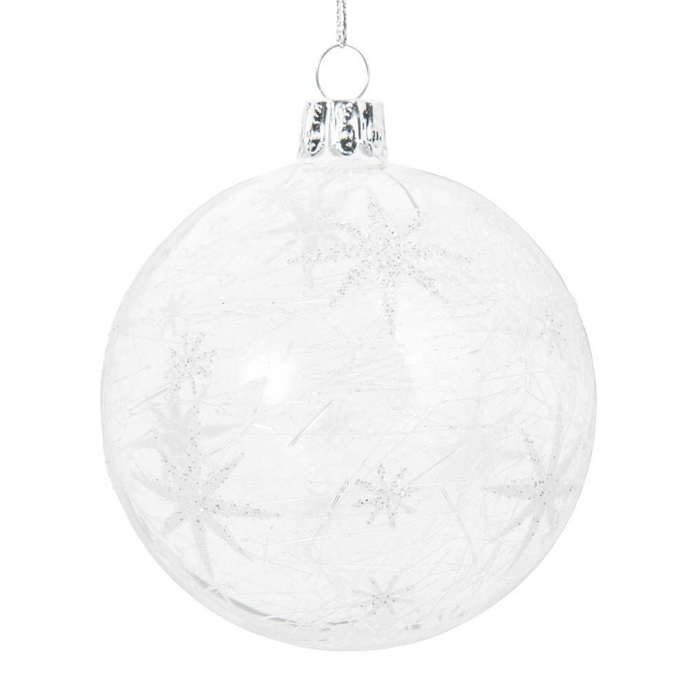 Pallina di Natale in vetro con motivo stelle argentate Decorazioni di Natale
