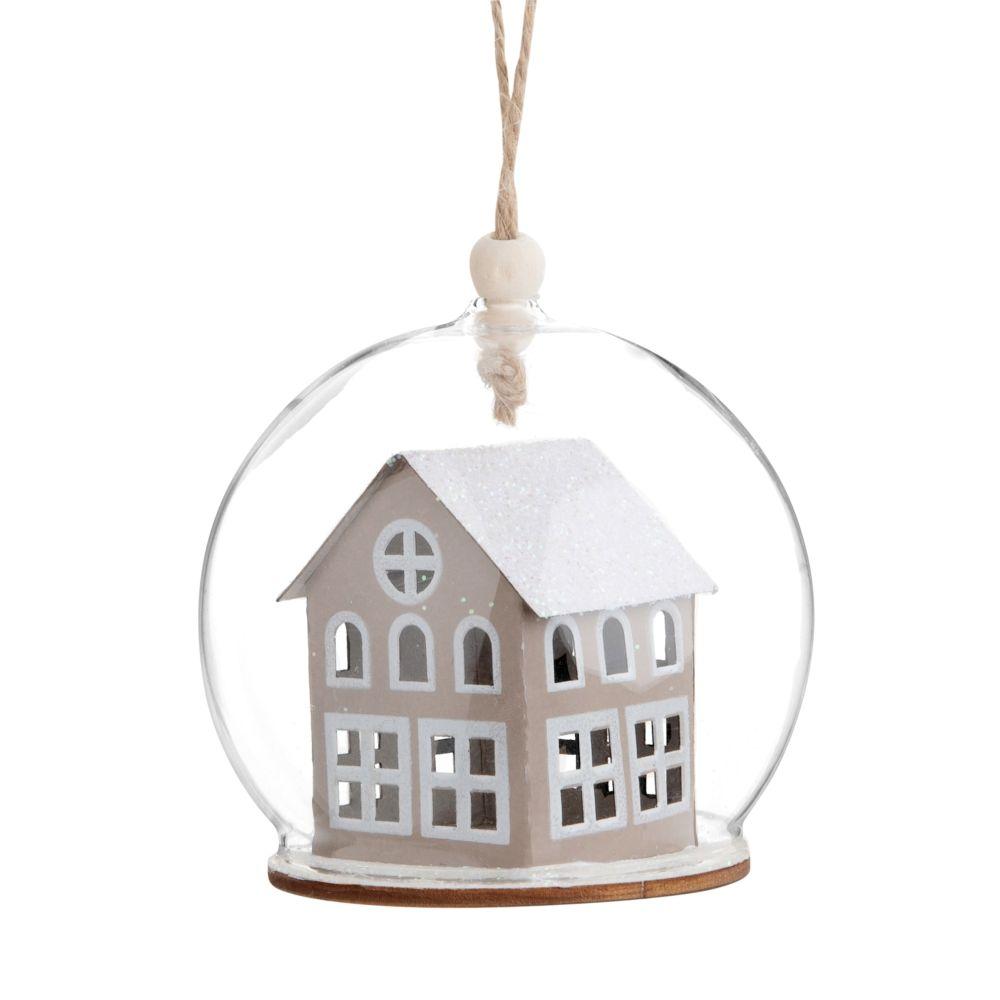 Pallina di Natale in vetro decorazione casa marrone e bianca Decorazioni di Natale