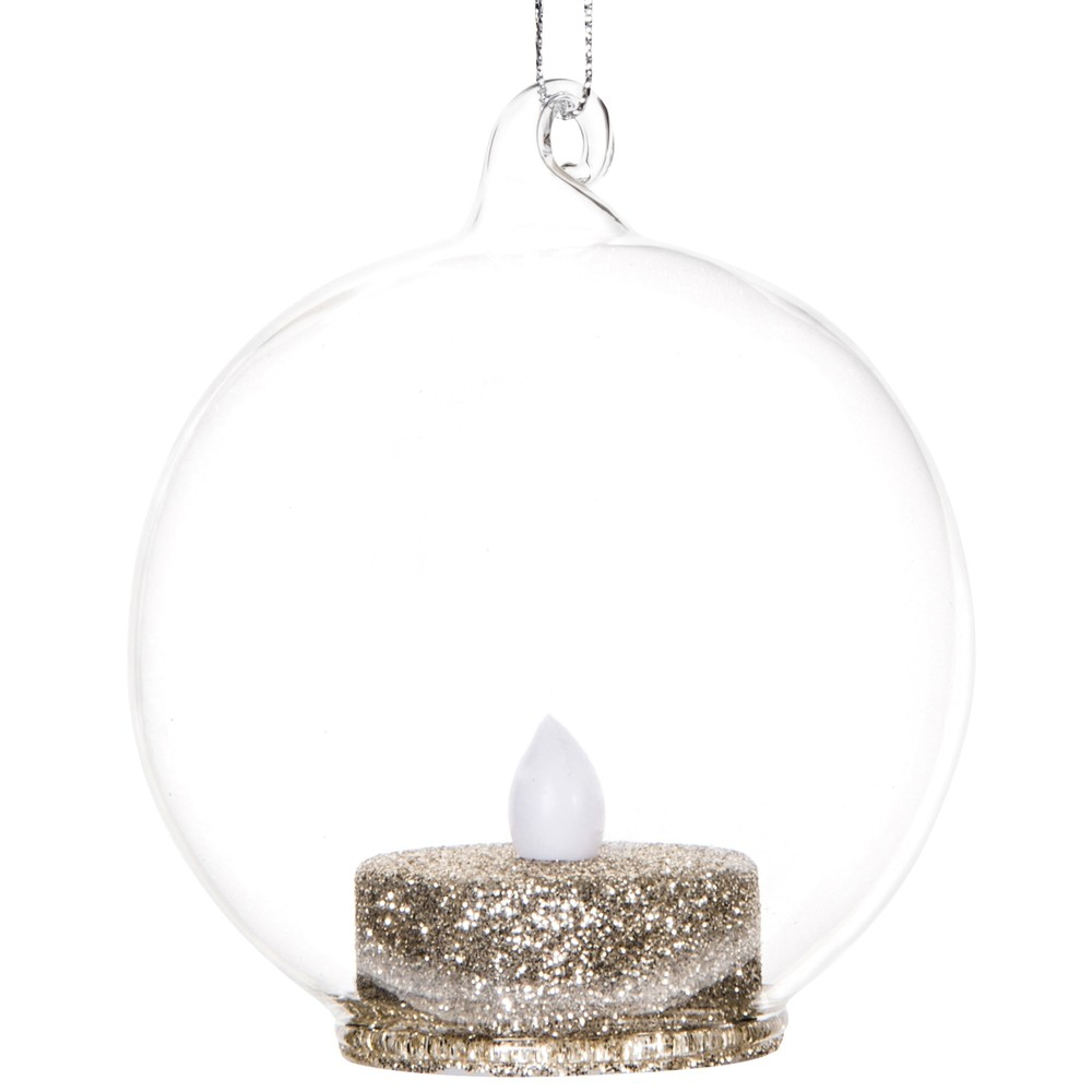 Dove acquistare Pallina di Natale in vetro e candela con LED dorata