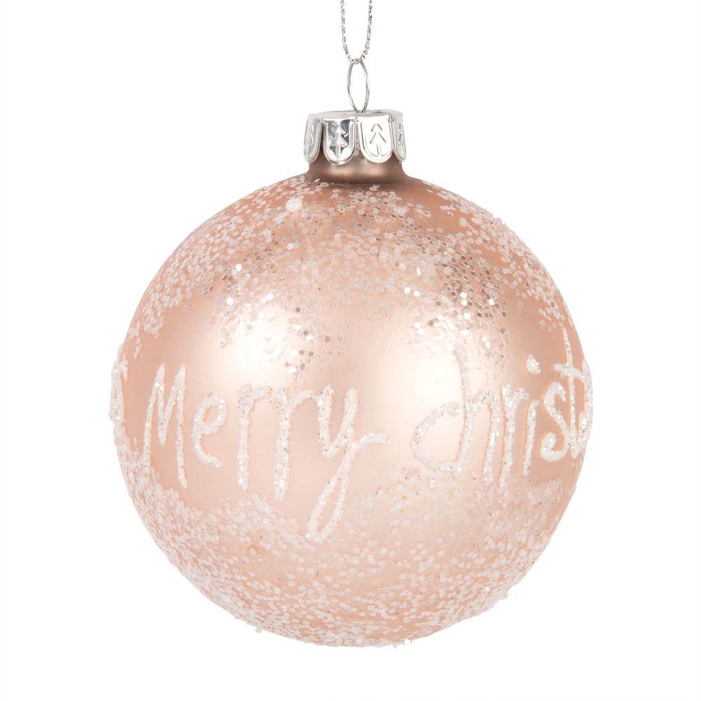 Pallina di Natale in vetro rosa effetto brinato Decorazioni di Natale