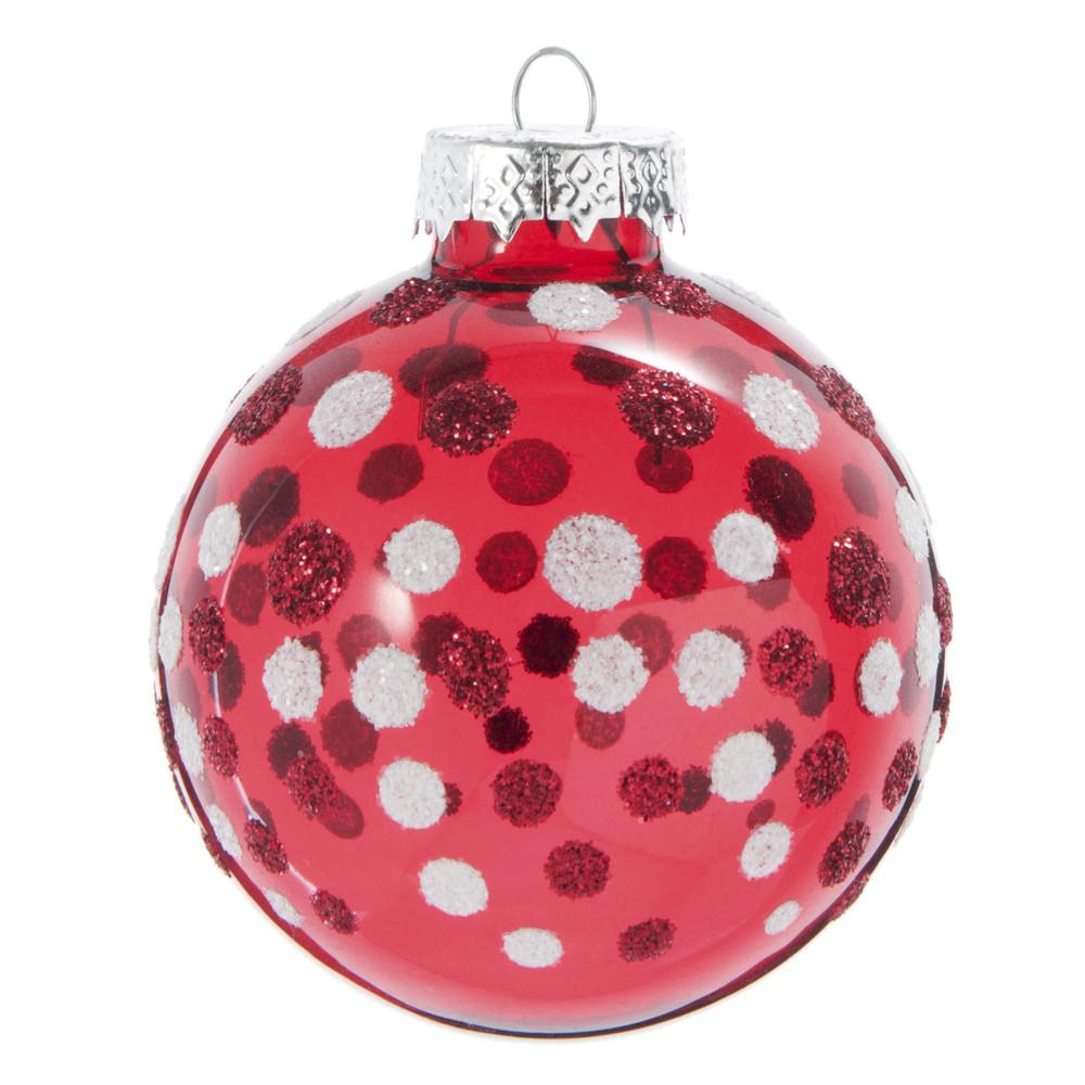 Pallina di Natale in vetro rosso con motivi Decorazioni di Natale
