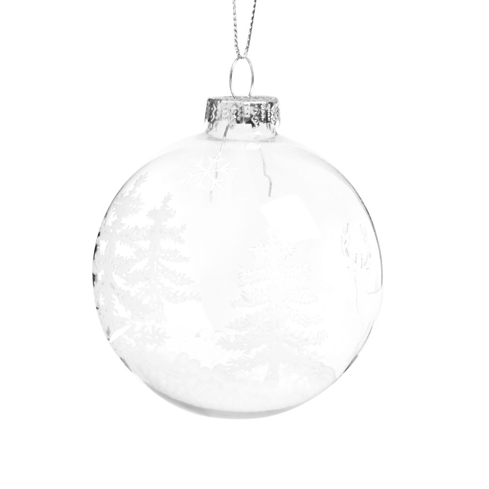 Pallina di Natale in vetro stampa bianca Decorazioni di Natale