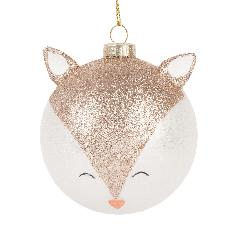 Pallina di Natale in vetro volpe con paillette Decorazioni di Natale