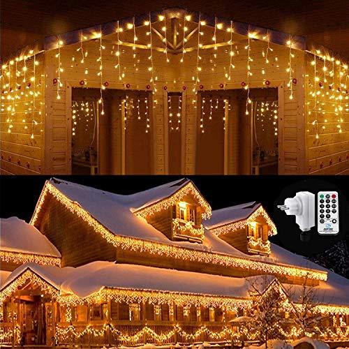 Qedertek 432 LED Cascata Luci da Esterno, 10M Tenda Luminosa Bianco Caldo, Luci Nataliazie da Esterno con Telecomando, Tenda led con 8 modalità, Luci Decorazione Natale per Feste, Finestra, Blacone - 1