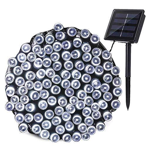 Qedertek Luci Natale Esterno Solare 22M 200 LED, Luci Stringa Impermeabile da Giardino Impermeabile, Luci Natalizie da Esterni, Addobbi Natalizi a Albero di Natale, Balcone, Patio (Bianco) - 1