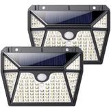 QTshine Luce Solare Led Esterno 118 LED, [Servizio di 24 Mesi -1000 lumen] Lampada Solare con Sensore di Movimento 2200mAh Wireless Impermeabile Luci Solari con 3 Modalità per Giardino [2Pezzi] - 1