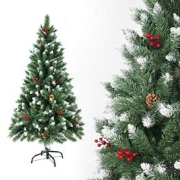 SunJas - Albero di Natale Artificiale con pigne, 120/150/180/210 cm, Punte Appuntite e Abete Artificiale con Supporto in Metallo, Albero di Natale di Alta qualità, pigne (150CM) - 1