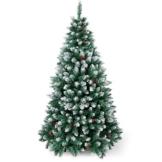SunJas - Albero di Natale Artificiale con pigne, 120/150/180/210 cm, Punte Appuntite e Abete Artificiale con Supporto in Metallo, Albero di Natale di Alta qualità, pigne (120CM) (120CM) (180CM) - 1