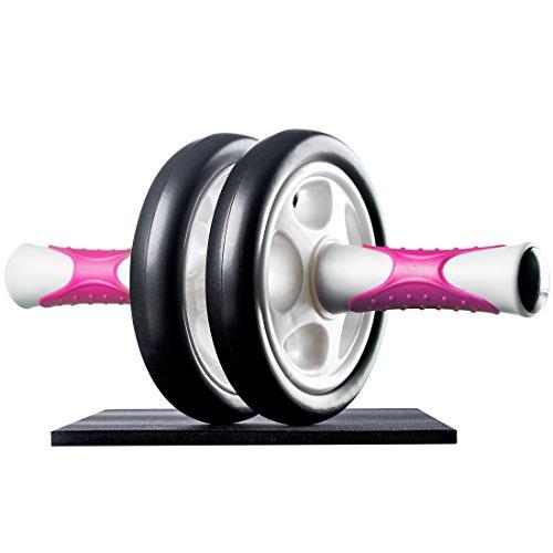 Ultrasport Attrezzo per Addominali AB Roller/Trainer AB Supporto per le Ginocchia, Allenamento Addominali per Uomini, Donne e Persone Anziane, Trainer Muscolare Pieghevole, Rosa, Taglia Unica - 1