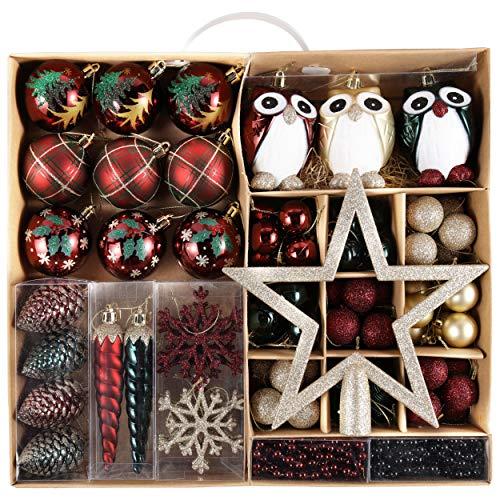 Valery Madelyn Palle di Natale 90 Pezzi di Palline di Natale, 3-13 cm di Strada di Campagna Rosso Verde e Oro Infrangibile Ornamenti di Palla di Natale Decorazione per la Decorazione - 1