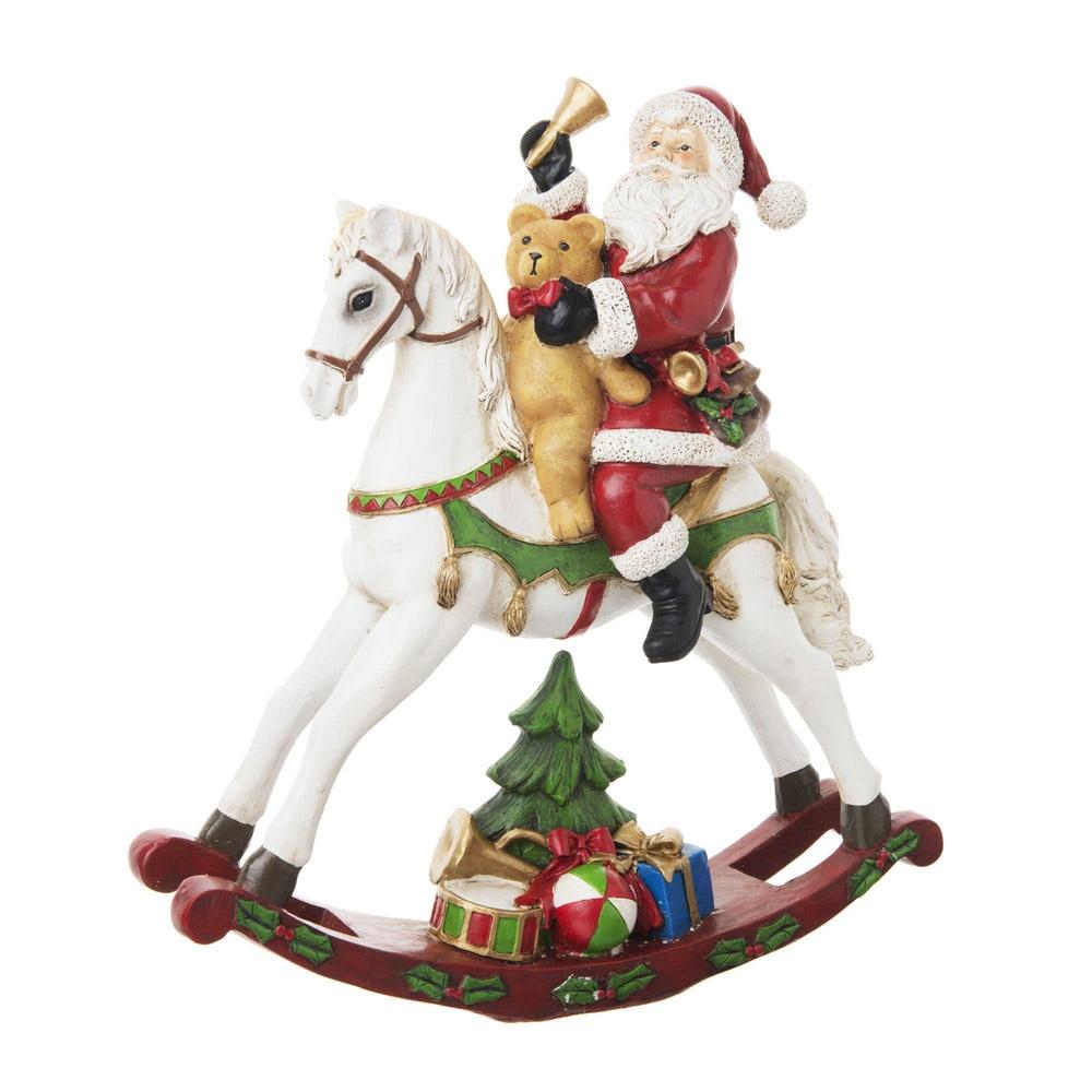 Decorazione natalizia cavallo a dondolo e Babbo Natale
