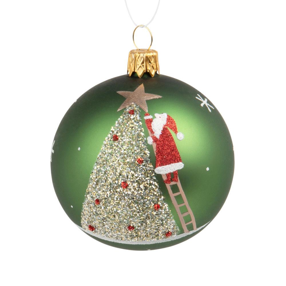 Weihnachtskugel aus grünem Glas, bedruckt mit Tannenbaum und Weihnachtsmann