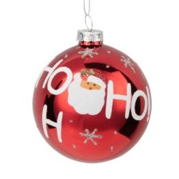 Weihnachtskugel aus rotem Glas mit Weihnachtsmann-Muster