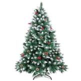 WEWILL Albero di Natale Artificiale Bacche Rosse Pino Bianco Naturale per Decorazioni Natalizie Feste di Natale, Supporto in Metallo Stabile(180cm) - 1