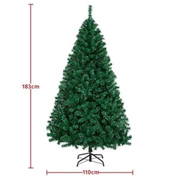 Yaheetech Albero di Natale Artificiale 180 cm 1000 Rami in PVC Effetto Realistico Base in Metallo Pieghevole Portatile - 2