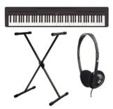 Yamaha P-45B - Pianoforte digitale, include cavalletto e cuffie (88 tasti, numero massimo di polifonia: 64 voci, 10 preset, 4 effetti di riverbero, 2 altoparlanti da 6 watt, auto power off, cavalletto incluso), colore: nero - 1