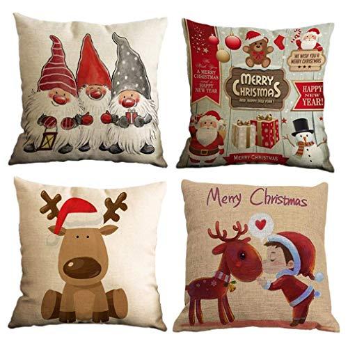 Yidaxing Natale Federa per Cuscini Cotone Biancheria 4 Pack Buon Natale Babbo Alce per divani Decorativo Biancheria Cuscino copricuscini Divano Caso Federa(45x45cm) - 1