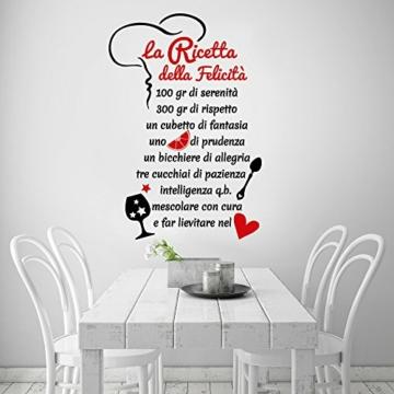01329 Adesivo murale Wall Art Aforisma - La ricetta della felicità - Misure 60x88 cm - nero e rosso - Decorazione parete, adesivi per muro, carta da parati - 1