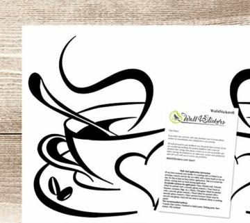Adesivo cucina 2 tazze da caffè da tè Cucina parete adesivo vinile tazzine decalcomania arte Ristorante Bar Decor Amore - 2