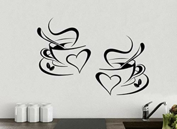 Adesivo cucina 2 tazze da caffè da tè Cucina parete adesivo vinile tazzine decalcomania arte Ristorante Bar Decor Amore - 1