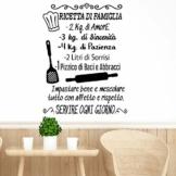 """Adesivo da parete in vinile con frase in italiano""""RICETTA DI FAMIGLIA"""" adesivi murali frasi in italiano citazione, decorazione da parete, Wall Stickers, Art Sticker Decal Mural DC-19004 - 1"""