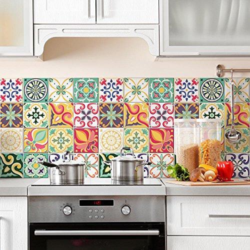 Confezione 24 Pezzi Misura 10x10 cm - Made in Italy - PS00049 Adesivi in PVC Decorazioni Piastrelle in Vinile Bagno e Cucina Stickers Design Adesivi Murali - 1