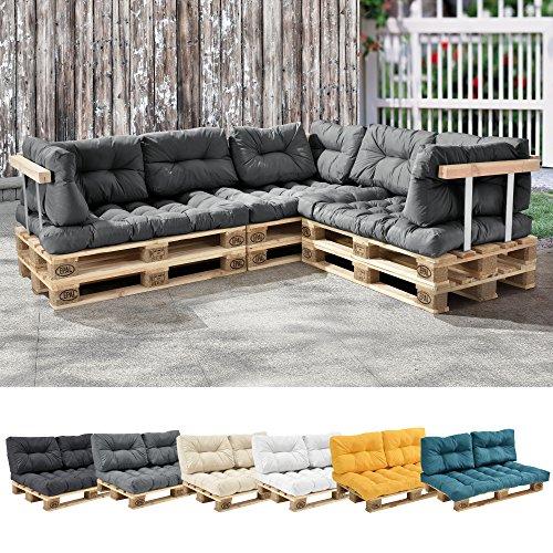 [en.casa] 1x Cuscino Sedile per Divano Paletta Euro [Grigio Chiaro] Cuscini per Palette Supporto in/Outdoor mobili Imbottiti - 1