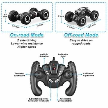 ETEPON Macchina Telecomandata, 2.4Ghz RC Auto 4WD Stunt Car, Deformazione ad Alta velocità Macchina Radiocomandata per Bambini Giocattoli - EQ70 - 2
