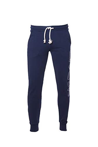 Givova - Pantalone da Uomo in Cotone French Terry Blu con Polsini e Stampa Laterale Givova - Palestra, Lavoro, Running, Corsa, Tempo Libero (XL) - 1