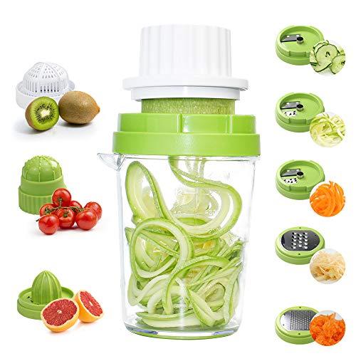 GoZheec Spiralizzatore di Verdure 8 in 1 Taglia Verdure a Spaghetti Affettatore a Spirale per Cetriolo, Zucchine, Carota, Patate, Cipolla, Formaggio - 1