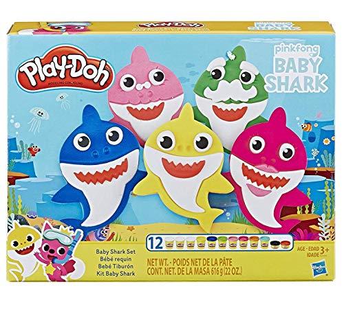 Hasbro Play-Doh - Baby Shark Playset con 12 Vasetti di Pasta da Modellare - 1