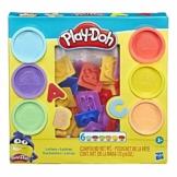 Hasbro Play-Doh- Forme Divertenti Set di 6 vasetti di Pasta da Modellare (Modelli Assortiti), Multicolore, E8530 - 1