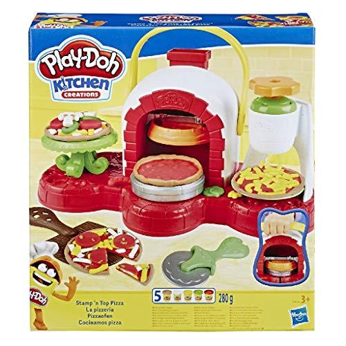 Hasbro Play-Doh - La Pizzeria, Play Set con 5 Vasetti di Pasta da Modellare, Multicolore, E4576EU4 - 1