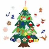 Herefun Albero di Natale in Feltro per Bambini, Albero di Natale in Feltro Fai da Te con Addobbi, 25 Pezzi Ornamenti Staccabili Regali per Decorazione della Parete Natale di Capodanno - 1