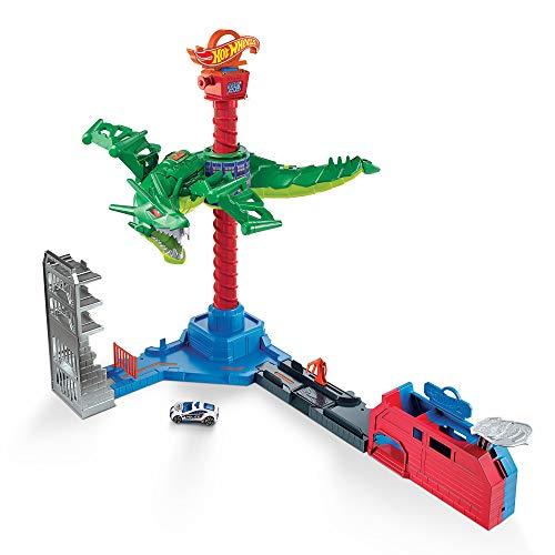 Hot Wheels - Attacco Aereo del Dragone, Playset Motorizzato con Suoni e 1 Macchinina Giocattolo per Bambini 3+Anni, GJL13 - 1