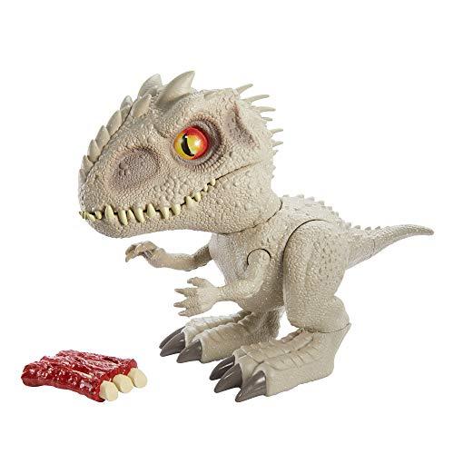 Jurassic World- Indominus Rex Dinosauro Interattivo con Riflesso per Mordere, Luci e Suoni Giocattolo per Bambini 4+Anni, GMT90 - 1
