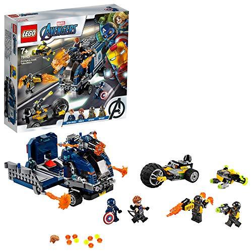 LEGO SuperHeroes Avengers-AttaccodelCamion, Playset Smontabile con Minifigure di Capitan America e Hawkeye, 76143 - 1