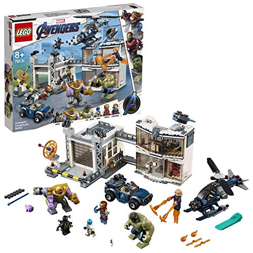 LEGO Super Heroes Avengers: Battaglia nel Quartier Generale, Figure di Thanos e Hulk, Minifigure di Iron Man, Captain Marvel e Nebula, 76131 - 1