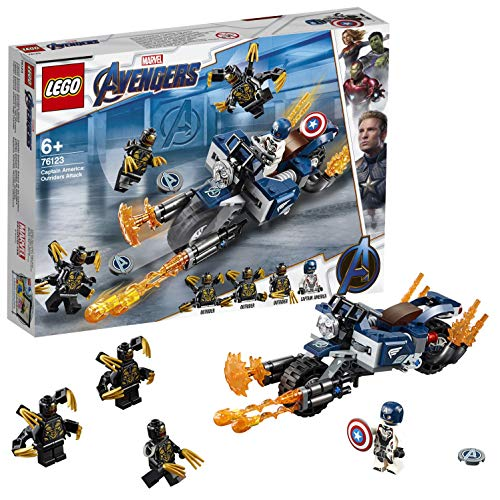 LEGO SuperHeroes MarvelAvengers CaptainAmerica:AttaccodegliOutrider, Moto Giocattolo, Playset, 76123 - 1