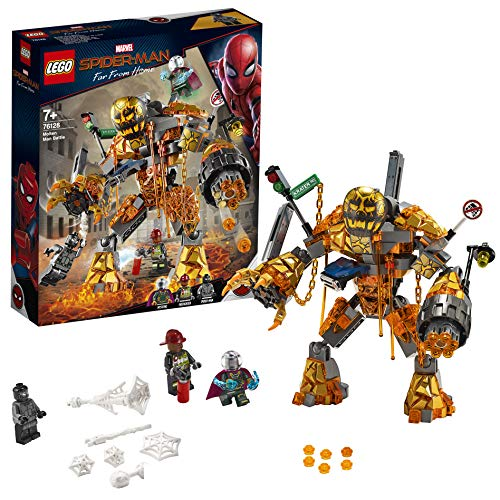 LEGO Super Heroes Marvel Spider-Man La battaglia di Molten con Figura da Costruire e Minifigure di Mysterio e pompiere, Ispirato al Film Spiderman: Far From Home, 76128 - 1
