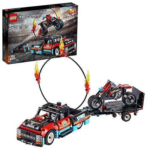 LEGO Technic TruckeMotodelloStuntShow, Set di Costruzioni,Modello 2in1con Motore Pull-Back e Rimorchio, 42106 - 1