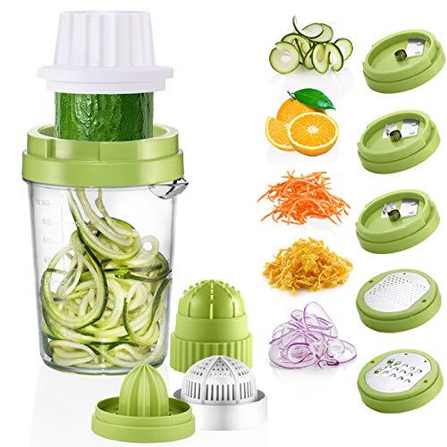 Osaloe Spirale per Verdure, Tagliapasta a Spirale 8 in 1 Spremiagrumi per Carote, Cetrioli, Zucchine, Formaggio, Cioccolato, Arancia, Limone, Bacche ecc. (Verde) - 1