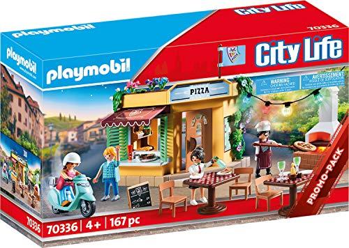 Playmobil City Life 70336 - Pizzeria con Tavoli all'Aperto con Effetti Luminosi, dai 4 anni - 1