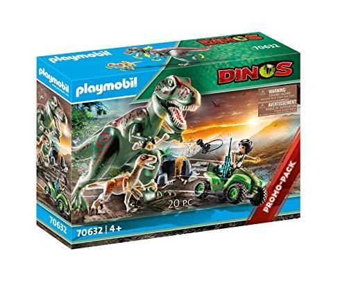 Playmobil Dinos 70632 - L'Attaco dei Dinos T Rex con Raptor e Quad - 1