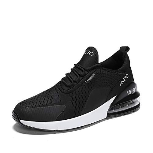populalar - Scarpe da corsa, da uomo e da donna, scarpe da ginnastica, sneaker traspiranti, per corsa, fitness, palestra, outdoor, leggere., Nero (12 bianco e nero), 34 EU - 1